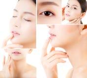 Collage av flera foto för härlig asiatisk kvinnamakeup av skönhetsmedlet, kind för flickahandhandlag, framsida av skönhet som är  royaltyfria bilder