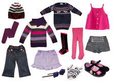 Collage av flickakläder. Arkivbild