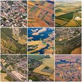 Collage av flyg- sikter av den Paris regionen Royaltyfria Foton
