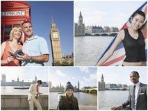 Collage av folk på semester i London Arkivfoto