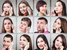 Collage av folk som kallar på telefonen royaltyfri bild