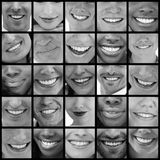 Collage av folk som ler i svartvitt royaltyfri foto