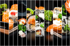 Collage av foto av sushi royaltyfri bild