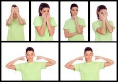 Collage av foto från en kvinna som uttrycker olika sinnesrörelser Arkivbild