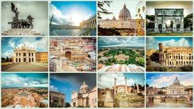 Collage av foto från Rome Arkivbild