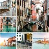 Collage av foto från Venedig Fotografering för Bildbyråer