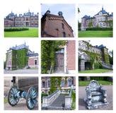 Collage av foto av mangårdsbyggnaden på Malmgard, Finland fotografering för bildbyråer