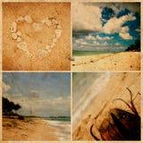 Collage av foto på grungepapper. Bali strand, Royaltyfri Bild