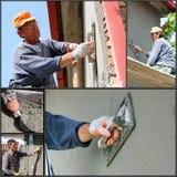 Byggnadsarbetarear på arbete - Collage Arkivbilder
