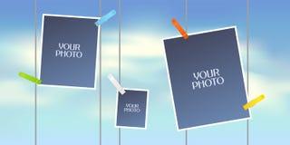 Collage av fotoramar eller urklippsbok för illustration för vektor för fotoalbum stock illustrationer