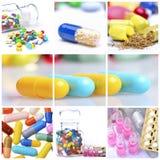 Collage av färgrika preventivpillerar Royaltyfri Fotografi