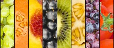 Collage av frukt i band royaltyfria foton