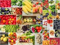 Collage av frukter och grönsaker i ett foto Fotografering för Bildbyråer
