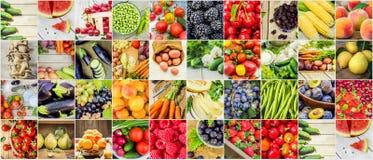 Collage av frukter och grönsaker i ett foto Arkivfoton