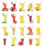 Collage av fruktsaftar royaltyfri foto