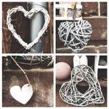 Collage av fyra hjärtor Arkivfoto