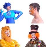 Collage av fyra isolerade bilder: närbildstående av att le Arkivbild