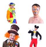 Collage av fyra isolerade bilder: närbildstående av att le Fotografering för Bildbyråer