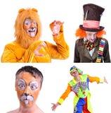 Collage av fyra isolerade bilder: närbildstående av att le Royaltyfri Fotografi