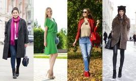 Collage av fyra olika modeller i trendig kläder för Royaltyfria Foton