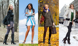 Collage av fyra olika modeller i trendig kläder för Arkivfoton