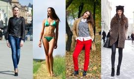 Collage av fyra olika modeller i trendig kläder för arkivbild