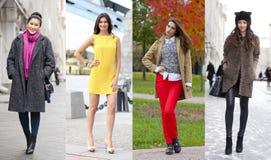 Collage av fyra olika modeller i trendig kläder för Arkivfoto