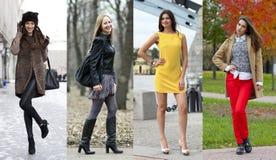 Collage av fyra olika modeller i trendig kläder för Royaltyfri Foto