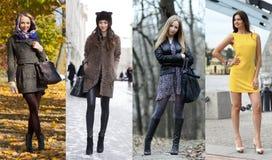 Collage av fyra olika modeller i trendig kläder för arkivbilder