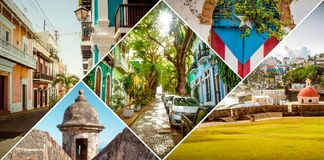 Collage av gamla San Juan, Puerto Rico arkivbild