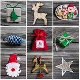 Collage av garnering för flera olik färgrik jul på wo Arkivbilder