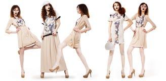 Collage av glamorösa nätt flickashoppare i moderna klänningar. Livsstil Royaltyfri Fotografi