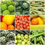 Collage av grönsaker och frukter, begrepp av hälsa och wellness Strikt vegetarian bantar Arkivbilder