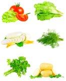 Collage av grönsaker på vit bakgrund. Royaltyfri Foto