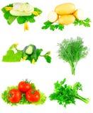 Collage av grönsaker på vit bakgrund. Arkivbild