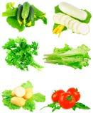 Collage av grönsaker på vit bakgrund. Royaltyfria Bilder