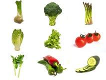 Collage av grönsaker som isoleras med vit bakgrund arkivbilder