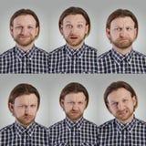 Collage av grimasen för ung man royaltyfria foton