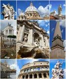 Collage av gränsmärken av Rome, Italien Royaltyfri Fotografi