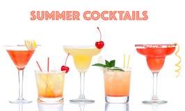 Collage av gula röda compos för alkoholmargaritamartini coctailar Arkivfoton