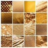 Collage av guld- yttersidor för olik textur royaltyfria bilder
