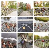 Collage av härliga broar med förälskelselås 14 Augusti 2018 Kouvola, Finland royaltyfria foton