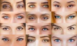Collage av härliga kvinnliga ögon fotografering för bildbyråer