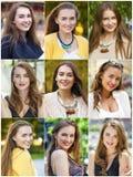 Collage av härliga unga kvinnor royaltyfri foto