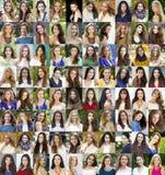 Collage av härliga unga kvinnor mellan jaröst arton och trettio royaltyfri fotografi