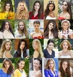Collage av härliga unga kvinnor mellan jaröst arton och trettio arkivfoton