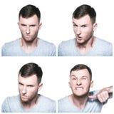 Collage av ilskna framsidauttryck Fotografering för Bildbyråer