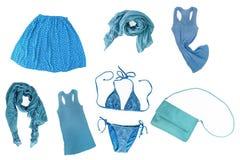 collage av isolaen för kläder och för tillbehör för innegrejblåttkvinnlig arkivbild