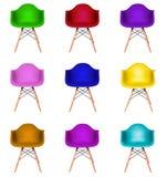 Collage av isolerade färgrika moderna stolar Royaltyfri Fotografi