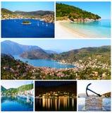 Collage av Ithaca Ionian öar Grekland arkivfoton